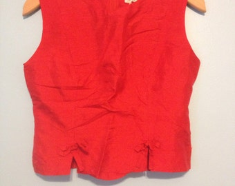 90's Bebe silk red crop top with bows
