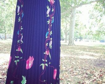 Vintage boho maxi floral skirt
