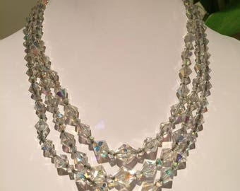 Vintage 1950s 3 Strand Crystal Necklace