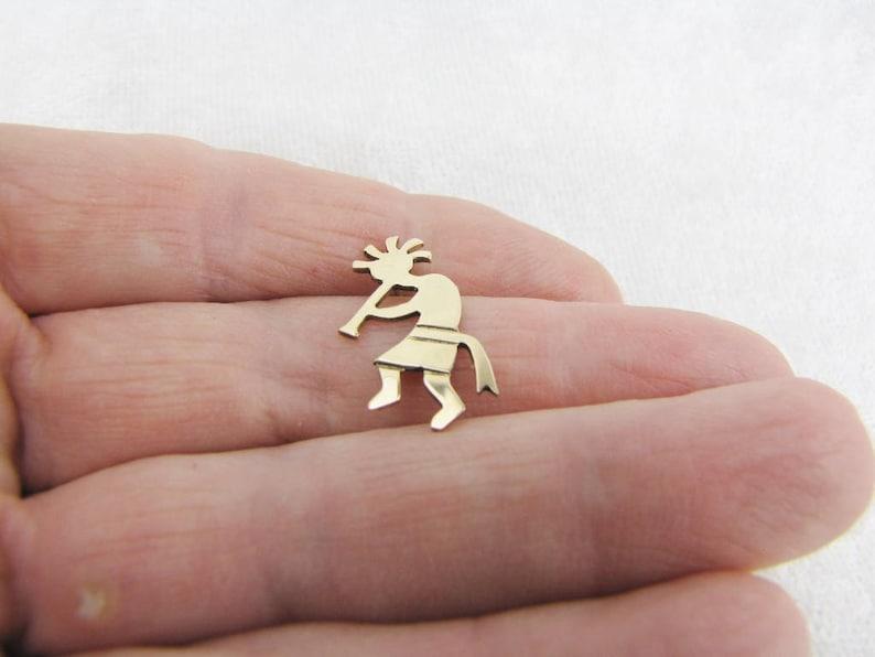 14K Solid Gold Single Earring Zuni Indian Tribal Mens Dangle Earring Western Native Men/'s Post Earring Father/'s Day Jewelry