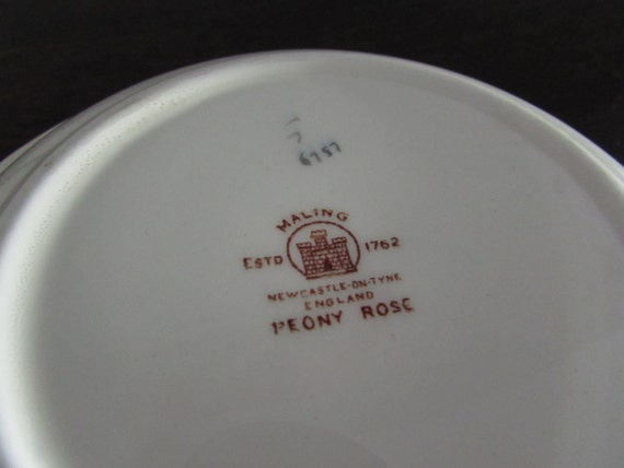 Vintage 1950s Peony Rose Serving Dish by Maling  Made in England  Lustreware