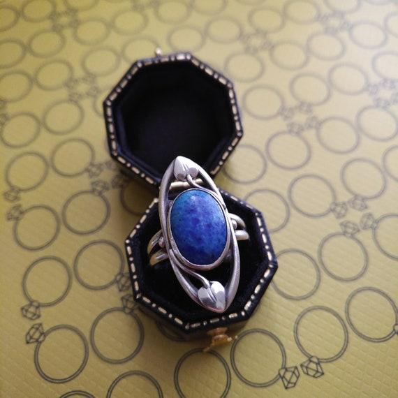 Antique Art Nouveau Sterling Blue Stone Ring.