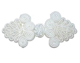 White Beaded Knot Frog Fasteners Mandarin Collar Clasp - 1-10 pairs