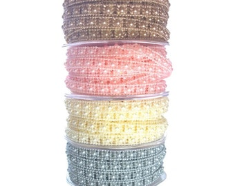 Square Pearl Beading String 1mt - 10mt Roll - Cream Ivory Pink Pewter Silver Bronze Gold