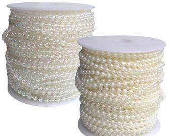 Pearl Beading String D:4mm Iridescent or Ivory - 25mt roll