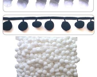 Large Pom Pom Fringe Trimming per meter White or Black