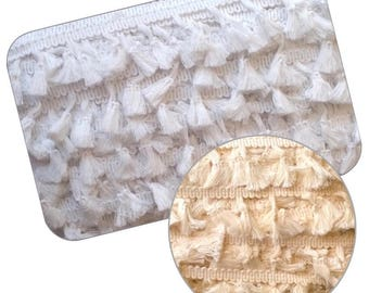Rustic Cotton Tassel Fringe Trimming 1mt - 25yd card White or Cream