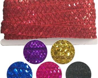 Sequin Criss Cross Metallic Knitted Braid 10mtr card