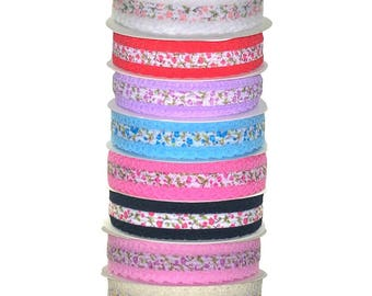 Lace Edged Flower Ribbon W:25mm p/mtr p/roll