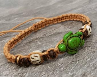 Turtle Bracelet - Sea Turtle Bracelet - Turtle Jewelry - Braided Bracelet - Green Turtle Bracelet - Turtle Gifts - Turtle Charm Bracelet