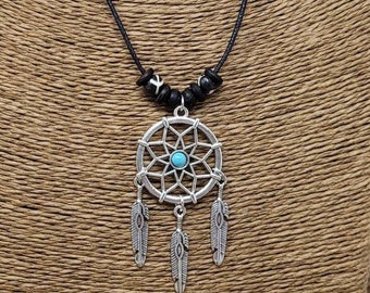 tribal Dream catcher Necklace Native American in spired boho Silver Dreamcatcher Necklace with Cherokee colors black and burgundy