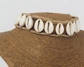Hawaiian Shell Necklace - Natural Seashell Necklace - Sea shell Necklace Choker - Cowrie Shell Necklace Cowry Shell Necklace Hemp Necklace