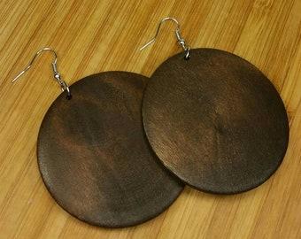 Modern art earrings Black and white large disc earrings Minimalist wooden disc earrings