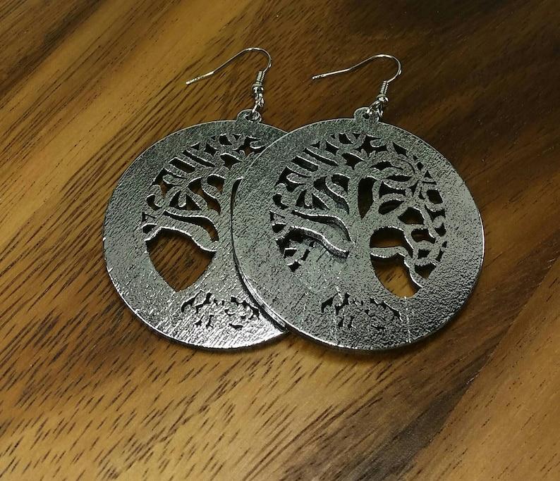 Tree Of Life Earrings Wooden Tree Of Life Wood Tree Earrings Silver Wooden Earrings Silver Wood Earrings Silver Tree Earrings Circle