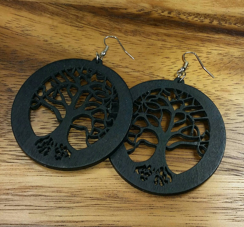 Tree Of Life Earrings Wooden Tree Of Life Black Tree Earrings Black Wooden Earrings Black Wood Earrings Black Tree Earrings Circle