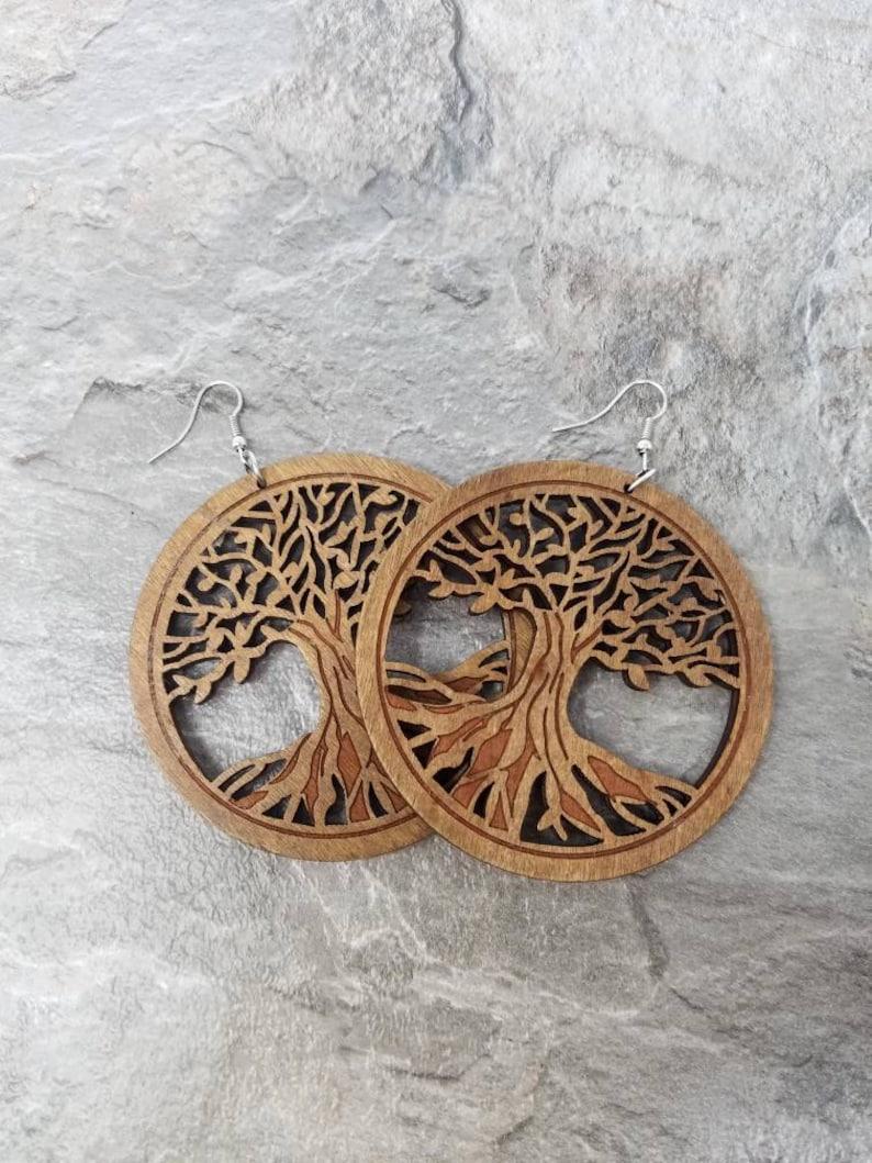 Tree Of Life Earrings Wooden Tree Of Life Wood Tree Earrings Brown Wooden Earrings Brown Wood Earrings Brown Tree Earrings Circle