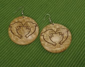 Dolphin Earrings - Coconut Wood Dolphin Earrings - Dangle Wooden Dolphin Earrings - Light Brown Dolphin Earrings