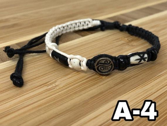 Yin And Yang White Hemp Custom Bracelet Yin Yang Bracelet Rose Quartz Bead Personalize Black And White Bracelet Ying Yang Black Hemp
