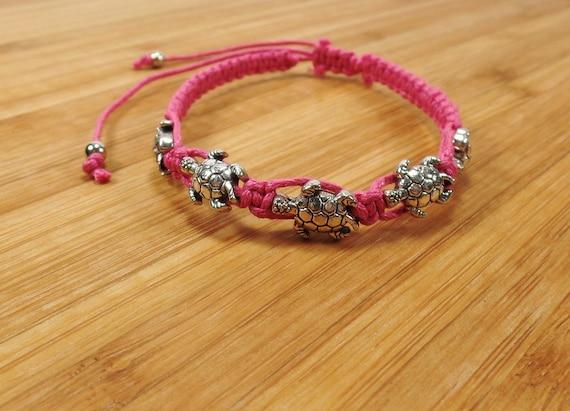macrame jewelry hemp jewelry Turtle in the Spring pink turtle