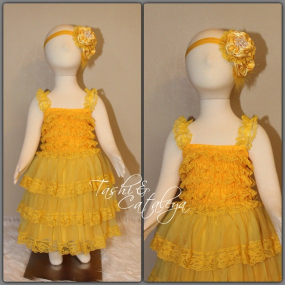 Yellow Lace Dress Matching Satin Headband Fits 6mo 2t 2t 4t 4 6 Romper Style Photo Prop Vintage Look Holiday Pageant Dress