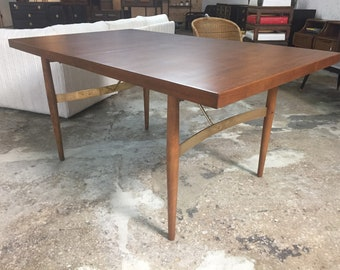 52775cdc6864 Scarce Milo Baughman for Murray Furniture Walnut   Brass Dining Room Table  No Leaves