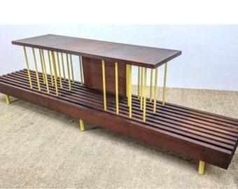 Unique Custom Mid Century Modern Stereo Media Slat bench