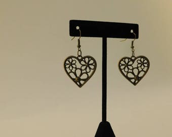 Brass Colored Heart and Flower Earrings
