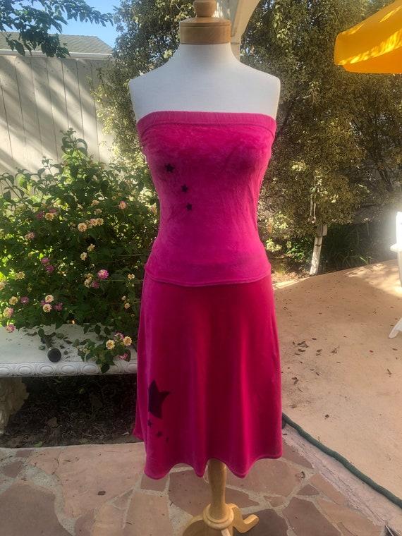 Vintage 1990s Hot Pink Large Floral Knit Skirt