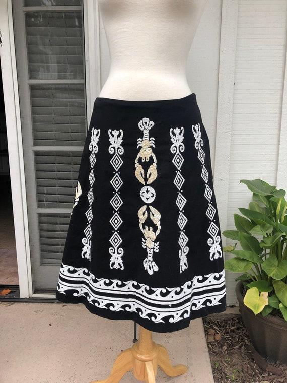 Vintage 1990's Black Novelty Fiesta Skirt With Seq