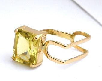 Lemon Quartz Cocktail Ring, 18k Yellow Gold Square Shape Ring, Contemporary Ring, Cocktail Ring, Birthstone Ring, Statement Ring