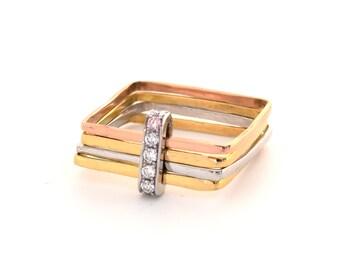 Pink Argyle Diamond Ring, Multi Gold Square Shape Multi Band Engagement Diamond Ring Pave Set with Argyle Pink Diamond