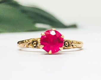6abcd88c0df99d 10k Round Ruby Solitaire Gemstone Ring in Yellow Gold, 1930s Lab Created  Red Ruby Alternative Engagement Ring, July Birthstone, Size 5.5