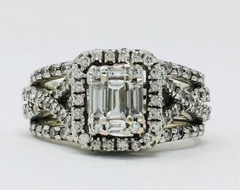 015a64df1ef99 Diamond emerald halo | Etsy
