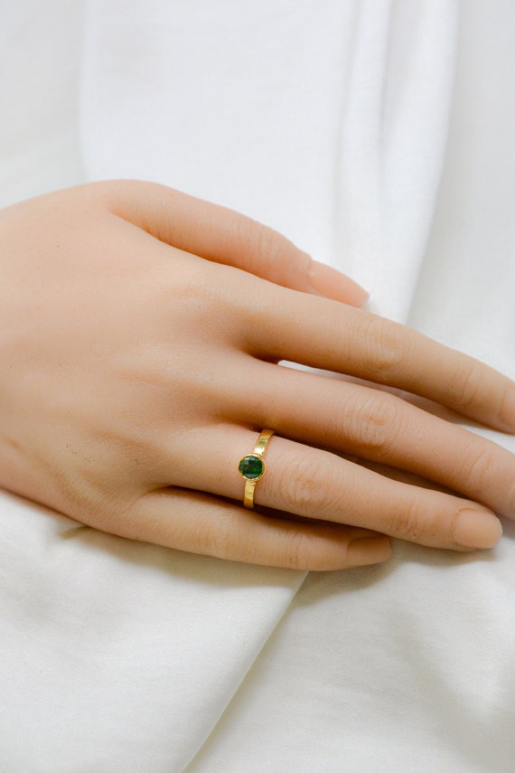 Olive Green Tourmaline Solitaire Ring Baguette Green Tourmaline Ring 14K Solid Gold Ring Solitaire Ring Birthstone Ring Minimalist Ring