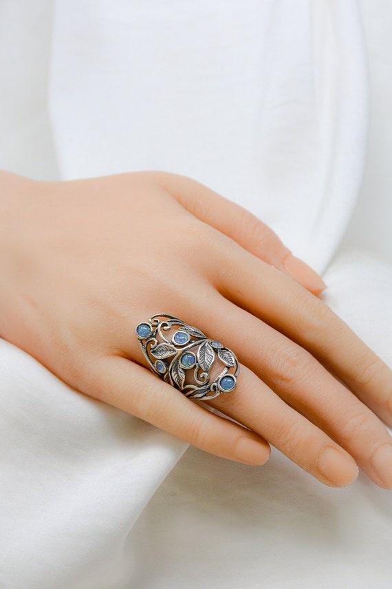 Opal Ring, Sterling Silver Bezel Black Opal Floral