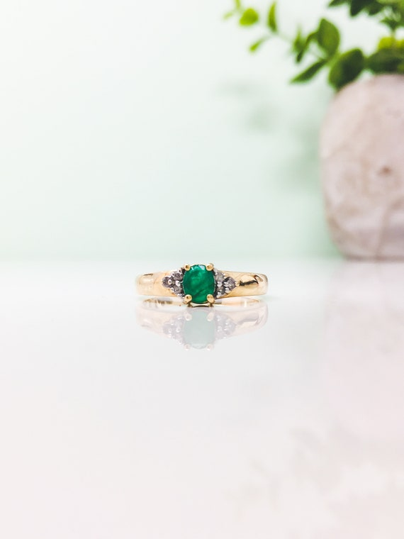 Emerald ring, Solid 10k gold Emerald Ring, Natural