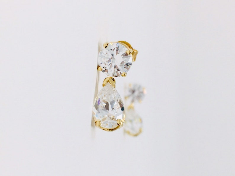 cd7989787c86 14k CZ Dangle Earrings Vintage Yellow Gold Large 1 Carat Pear