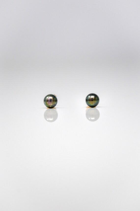 Black Pearl Earrings, 14k Gold Genuine Black Pearl