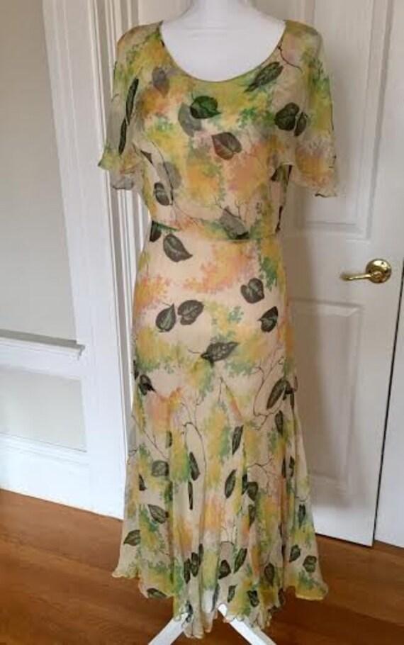 1930s 30s Silk Georgette Spring Cape Sleeved Sprin
