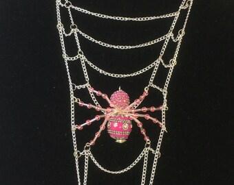 Spider Necklace, Spider Web Necklace, Halloween, Halloween Necklace, Halloween Jewelry