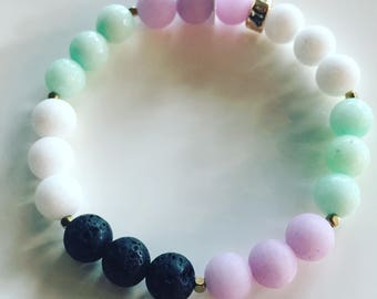 Jade & Lava Calming, Grounding and Loving Stackable Aromatherapy Bracelet with Gold or Silver Spacers