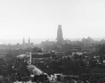 Pittsburgh Panorama Photo, black and white HDR photograph, black & white fine photography print, Hazy Morning