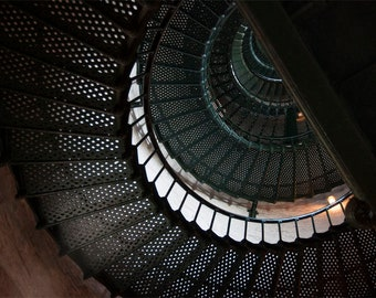 Lighthouse staircase photo, green and brown, fine photography prints, Concentrism in Color