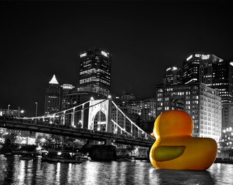 Downtown Pittsburgh Duck Photo, selective color HDR photograph, black, white, and yellow, 8 x 10 fine photography print, Our Sentinel