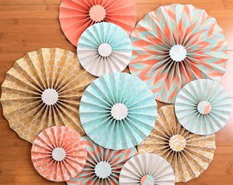 """Set of 10 Large 12""""/ 9""""/ 6"""" Paper Rosettes/Fans - Salmon, Mustard and Aqua"""