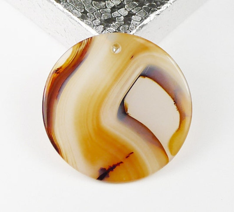 Round Agate Disc Pendant Bead 36x2mm
