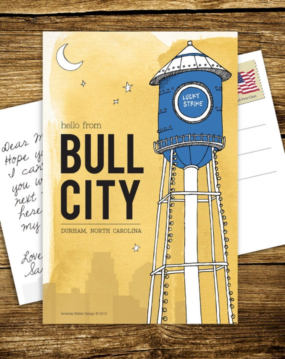 Hello From Bull City Durham Nc Postcards Set Of 10 Etsy
