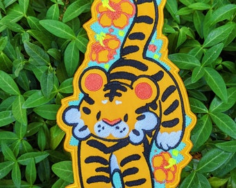 hibiscus tiger *LARGE* iron-on patch