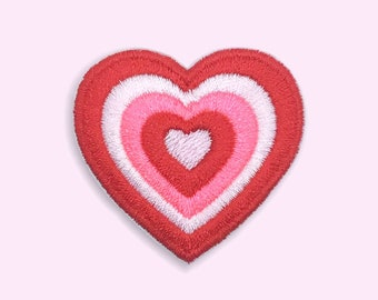 Powerpuff inspired heart iron-on patch