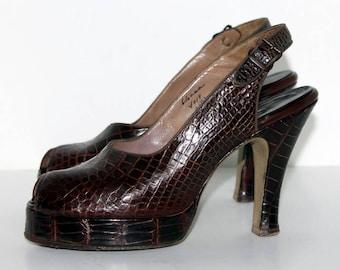 Vintage 1940s Platforms// Alligator// Sling Backs//Brown// Open Toe Platforms//Brown//Designer Belegranti// Old Hollywood// 40s Platforms
